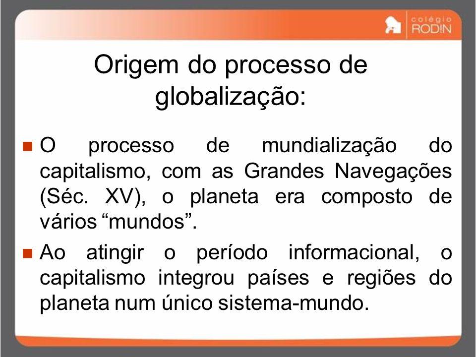 Origem do processo de globalização: O processo de mundialização do capitalismo, com as Grandes Navegações (Séc.