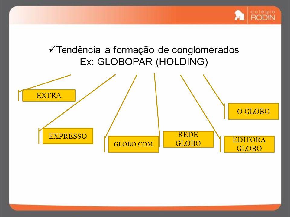 Tendência a formação de conglomerados Ex: GLOBOPAR (HOLDING) O GLOBO EXTRA EXPRESSO GLOBO.COM REDE GLOBO EDITORA GLOBO