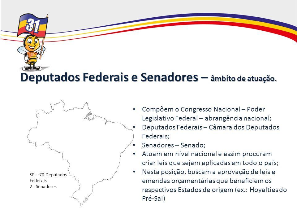 Deputados Federais e Senadores – âmbito de atuação. Compõem o Congresso Nacional – Poder Legislativo Federal – abrangência nacional; Deputados Federai