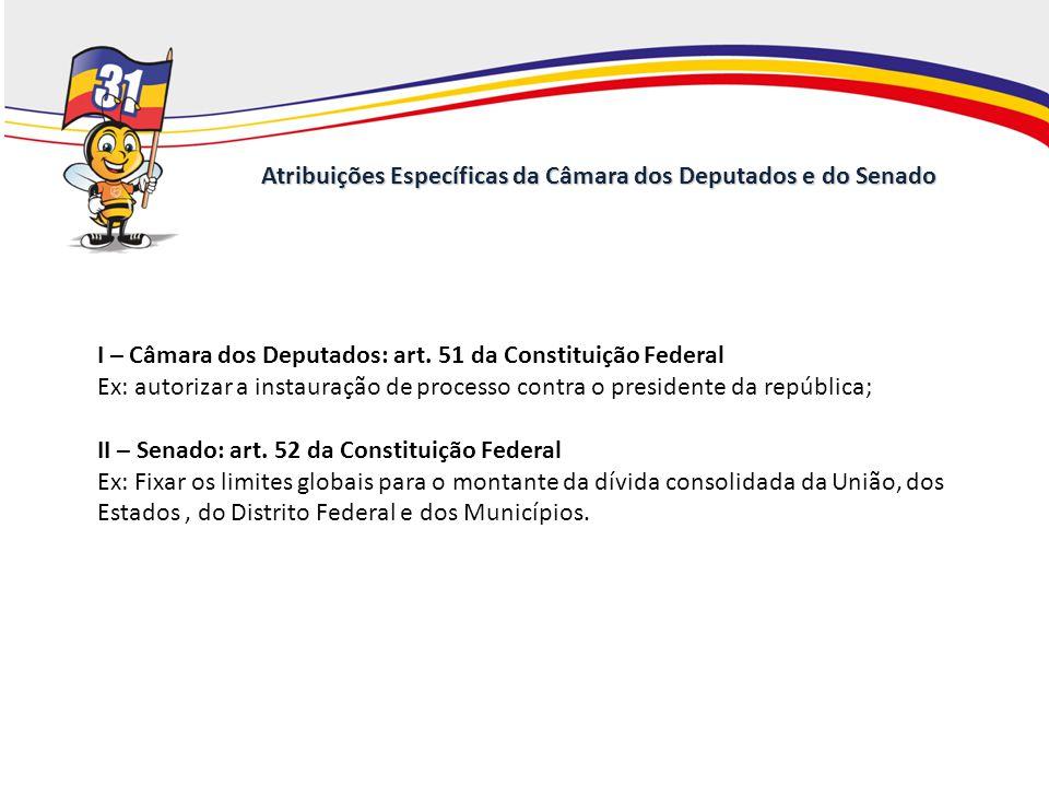 Atribuições Específicas da Câmara dos Deputados e do Senado I – Câmara dos Deputados: art. 51 da Constituição Federal Ex: autorizar a instauração de p