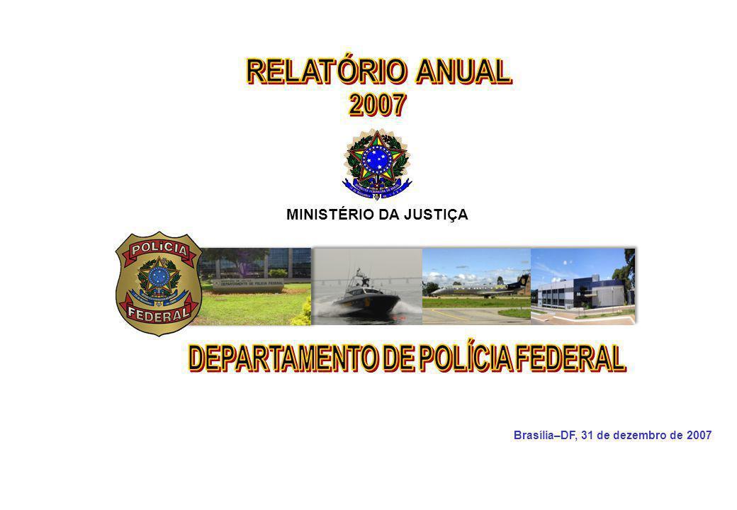 MINISTÉRIO DA JUSTIÇA DEPARTAMENTO DE POLÍCIA FEDERAL Relatório Anual - 2007 152 MINISTÉRIO DA JUSTIÇA DEPARTAMENTO DE POLÍCIA FEDERAL Compete planejar, coordenar, dirigir e orientar as atividades de inteligência em assuntos de interesse e competência do Departamento; compilar, controlar e analisar dados, submetendo-os à apreciação do Diretor-Geral para deliberação; e planejar e executar operações de contra- inteligência e antiterrorismo.
