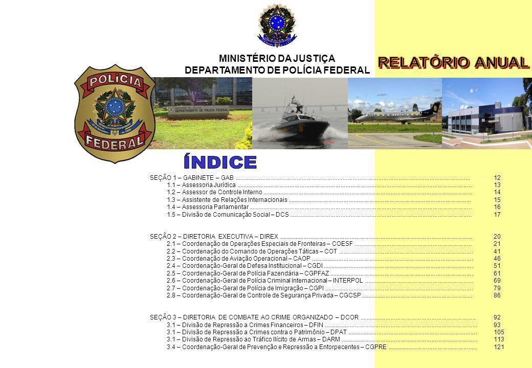 MINISTÉRIO DA JUSTIÇA DEPARTAMENTO DE POLÍCIA FEDERAL Relatório Anual - 2007 10 MINISTÉRIO DA JUSTIÇA DEPARTAMENTO DE POLÍCIA FEDERAL SEÇÃO 1 – GABINE