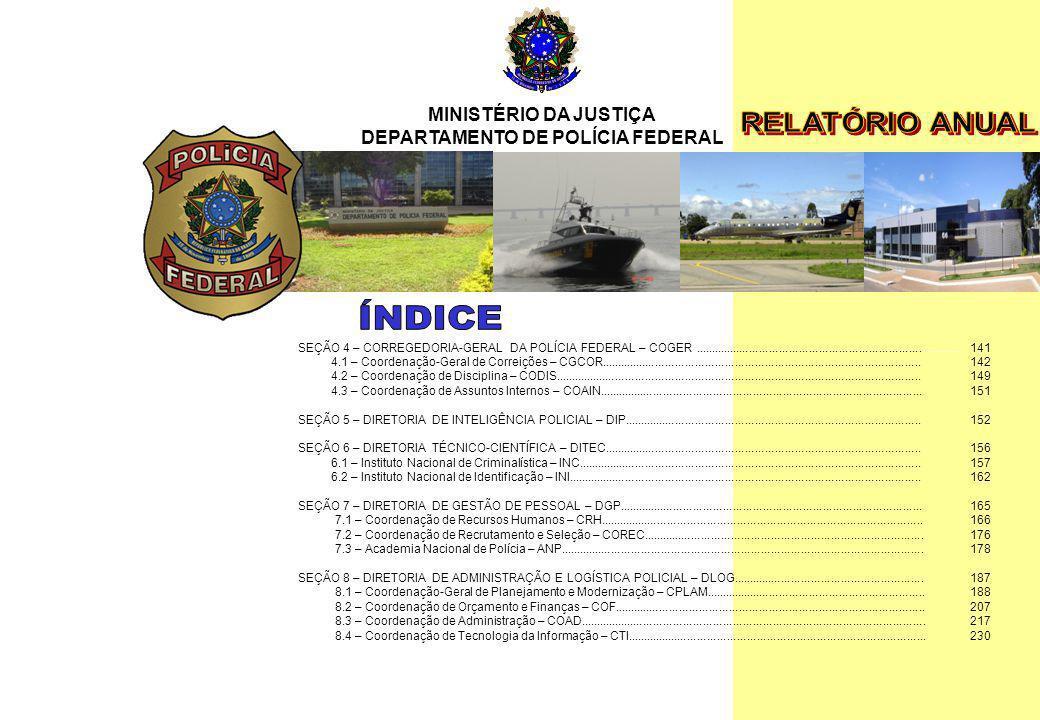 MINISTÉRIO DA JUSTIÇA DEPARTAMENTO DE POLÍCIA FEDERAL Relatório Anual - 2007 11 SEÇÃO 4 – CORREGEDORIA-GERAL DA POLÍCIA FEDERAL – COGER...............
