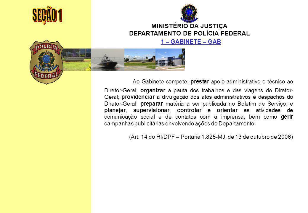 MINISTÉRIO DA JUSTIÇA DEPARTAMENTO DE POLÍCIA FEDERAL Relatório Anual - 2007 12 MINISTÉRIO DA JUSTIÇA DEPARTAMENTO DE POLÍCIA FEDERAL 1 – GABINETE – G