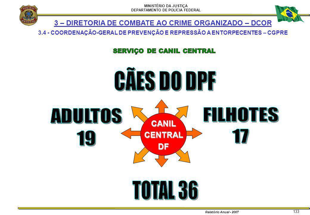 MINISTÉRIO DA JUSTIÇA DEPARTAMENTO DE POLÍCIA FEDERAL Relatório Anual - 2007 133 CANILCENTRALDF 3 – DIRETORIA DE COMBATE AO CRIME ORGANIZADO – DCOR 3.