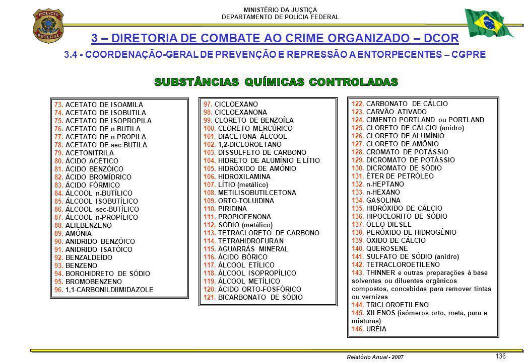 MINISTÉRIO DA JUSTIÇA DEPARTAMENTO DE POLÍCIA FEDERAL Relatório Anual - 2007 136 3 – DIRETORIA DE COMBATE AO CRIME ORGANIZADO – DCOR 3.4 - COORDENAÇÃO