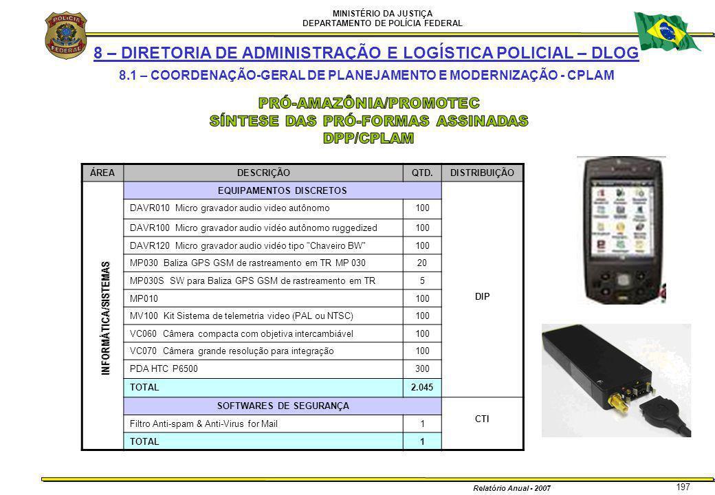 MINISTÉRIO DA JUSTIÇA DEPARTAMENTO DE POLÍCIA FEDERAL Relatório Anual - 2007 197 8 – DIRETORIA DE ADMINISTRAÇÃO E LOGÍSTICA POLICIAL – DLOG 8.1 – COOR