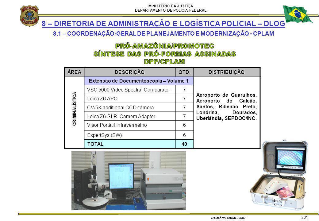 MINISTÉRIO DA JUSTIÇA DEPARTAMENTO DE POLÍCIA FEDERAL Relatório Anual - 2007 201 8 – DIRETORIA DE ADMINISTRAÇÃO E LOGÍSTICA POLICIAL – DLOG 8.1 – COOR