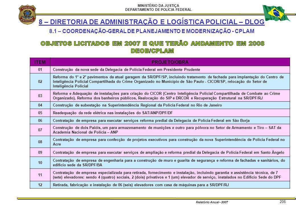 MINISTÉRIO DA JUSTIÇA DEPARTAMENTO DE POLÍCIA FEDERAL Relatório Anual - 2007 206 8 – DIRETORIA DE ADMINISTRAÇÃO E LOGÍSTICA POLICIAL – DLOG 8.1 – COOR
