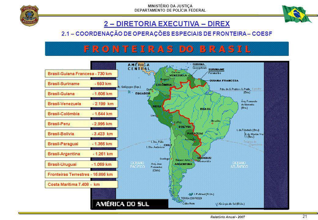 MINISTÉRIO DA JUSTIÇA DEPARTAMENTO DE POLÍCIA FEDERAL Relatório Anual - 2007 21 2 – DIRETORIA EXECUTIVA – DIREX 2.1 – COORDENAÇÃO DE OPERAÇÕES ESPECIA