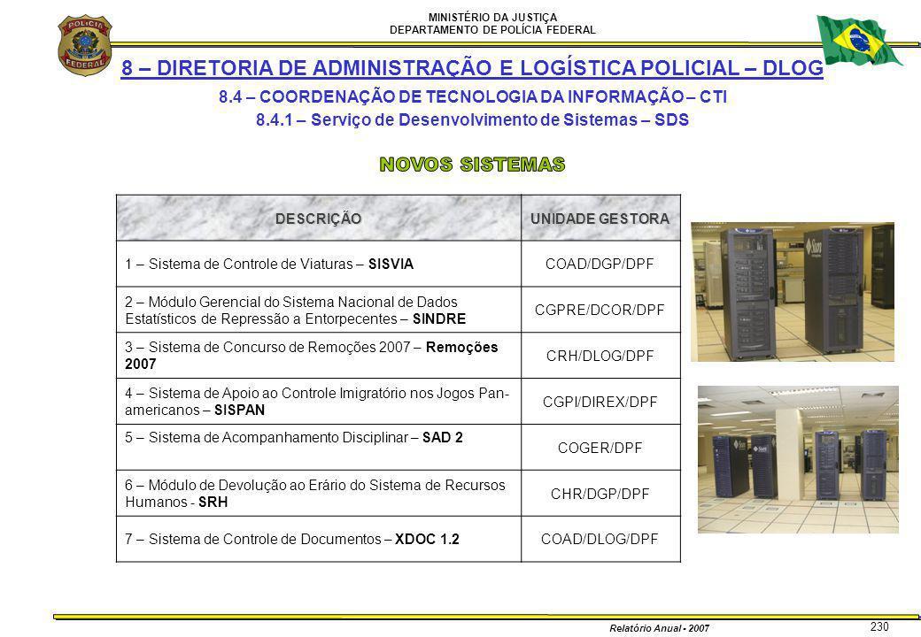 MINISTÉRIO DA JUSTIÇA DEPARTAMENTO DE POLÍCIA FEDERAL Relatório Anual - 2007 230 8 – DIRETORIA DE ADMINISTRAÇÃO E LOGÍSTICA POLICIAL – DLOG 8.4 – COOR