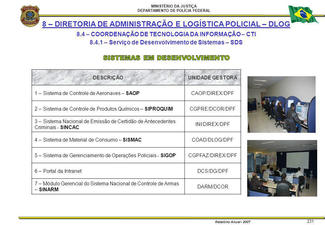 MINISTÉRIO DA JUSTIÇA DEPARTAMENTO DE POLÍCIA FEDERAL Relatório Anual - 2007 231 8 – DIRETORIA DE ADMINISTRAÇÃO E LOGÍSTICA POLICIAL – DLOG 8.4 – COOR