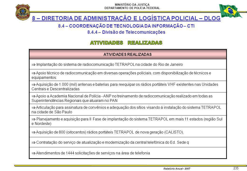 MINISTÉRIO DA JUSTIÇA DEPARTAMENTO DE POLÍCIA FEDERAL Relatório Anual - 2007 235 8 – DIRETORIA DE ADMINISTRAÇÃO E LOGÍSTICA POLICIAL – DLOG 8.4 – COOR