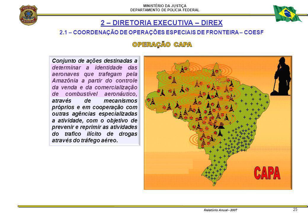 MINISTÉRIO DA JUSTIÇA DEPARTAMENTO DE POLÍCIA FEDERAL Relatório Anual - 2007 25 2 – DIRETORIA EXECUTIVA – DIREX 2.1 – COORDENAÇÃO DE OPERAÇÕES ESPECIA
