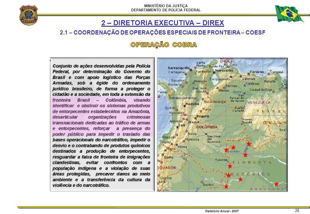 MINISTÉRIO DA JUSTIÇA DEPARTAMENTO DE POLÍCIA FEDERAL Relatório Anual - 2007 26 2 – DIRETORIA EXECUTIVA – DIREX 2.1 – COORDENAÇÃO DE OPERAÇÕES ESPECIA