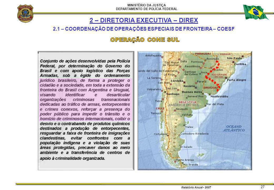 MINISTÉRIO DA JUSTIÇA DEPARTAMENTO DE POLÍCIA FEDERAL Relatório Anual - 2007 27 2 – DIRETORIA EXECUTIVA – DIREX 2.1 – COORDENAÇÃO DE OPERAÇÕES ESPECIA