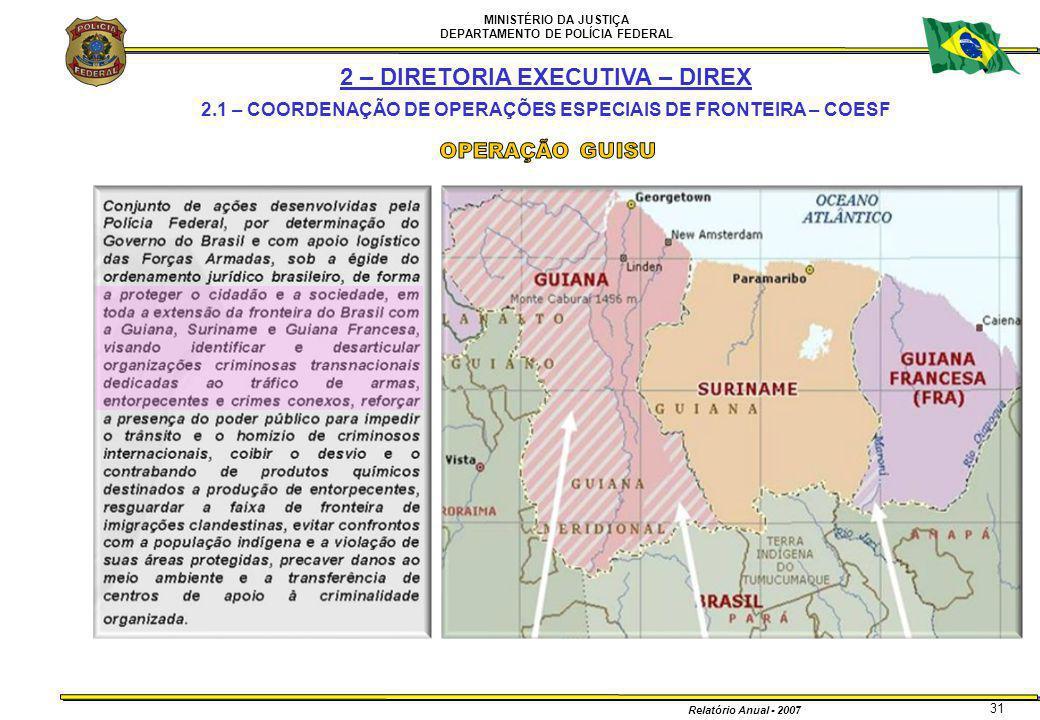 MINISTÉRIO DA JUSTIÇA DEPARTAMENTO DE POLÍCIA FEDERAL Relatório Anual - 2007 31 2 – DIRETORIA EXECUTIVA – DIREX 2.1 – COORDENAÇÃO DE OPERAÇÕES ESPECIA
