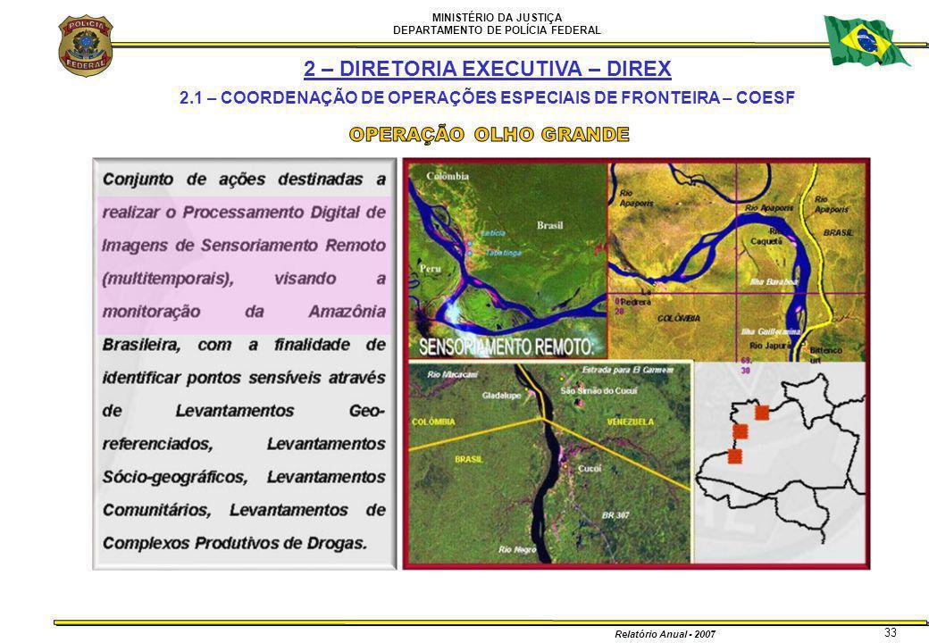 MINISTÉRIO DA JUSTIÇA DEPARTAMENTO DE POLÍCIA FEDERAL Relatório Anual - 2007 33 2 – DIRETORIA EXECUTIVA – DIREX 2.1 – COORDENAÇÃO DE OPERAÇÕES ESPECIA