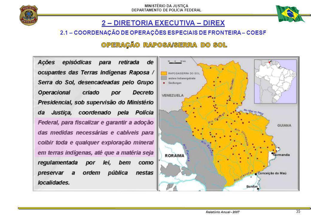 MINISTÉRIO DA JUSTIÇA DEPARTAMENTO DE POLÍCIA FEDERAL Relatório Anual - 2007 35 2 – DIRETORIA EXECUTIVA – DIREX 2.1 – COORDENAÇÃO DE OPERAÇÕES ESPECIA