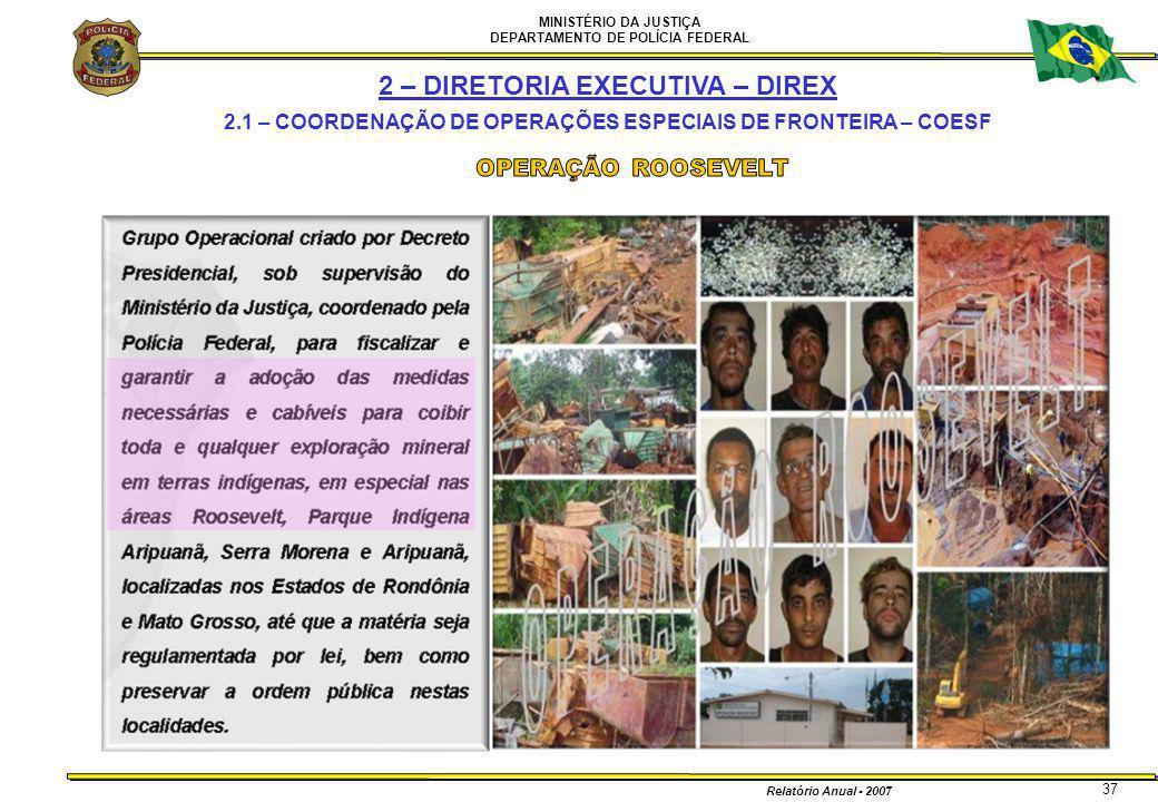 MINISTÉRIO DA JUSTIÇA DEPARTAMENTO DE POLÍCIA FEDERAL Relatório Anual - 2007 37 2 – DIRETORIA EXECUTIVA – DIREX 2.1 – COORDENAÇÃO DE OPERAÇÕES ESPECIA