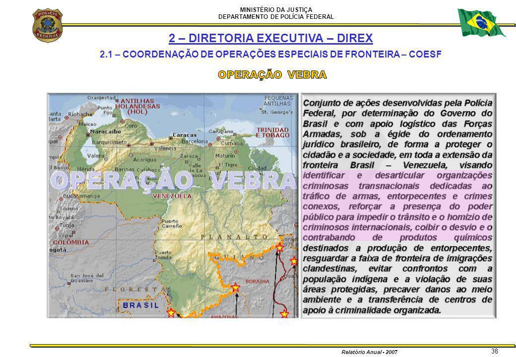MINISTÉRIO DA JUSTIÇA DEPARTAMENTO DE POLÍCIA FEDERAL Relatório Anual - 2007 38 2 – DIRETORIA EXECUTIVA – DIREX 2.1 – COORDENAÇÃO DE OPERAÇÕES ESPECIA