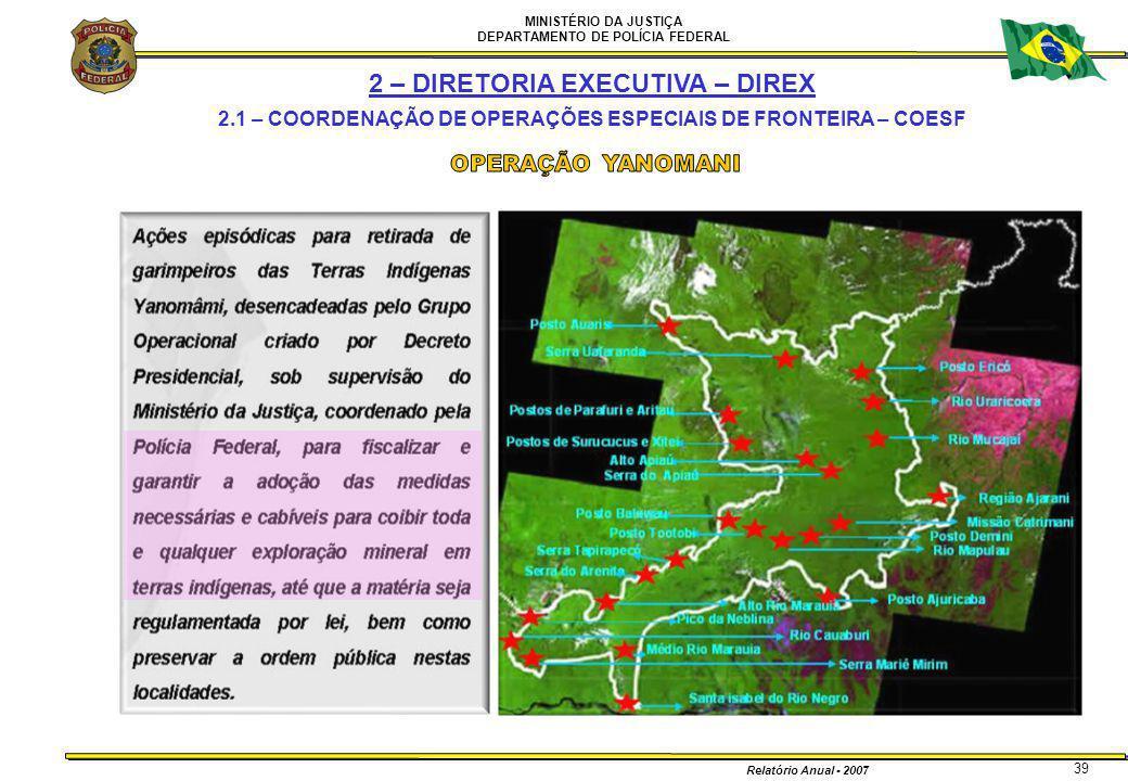 MINISTÉRIO DA JUSTIÇA DEPARTAMENTO DE POLÍCIA FEDERAL Relatório Anual - 2007 39 2 – DIRETORIA EXECUTIVA – DIREX 2.1 – COORDENAÇÃO DE OPERAÇÕES ESPECIA