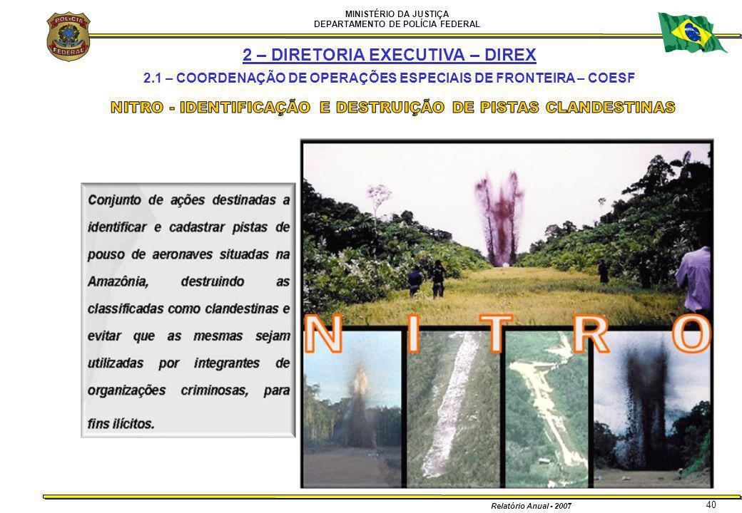 MINISTÉRIO DA JUSTIÇA DEPARTAMENTO DE POLÍCIA FEDERAL Relatório Anual - 2007 40 2 – DIRETORIA EXECUTIVA – DIREX 2.1 – COORDENAÇÃO DE OPERAÇÕES ESPECIA