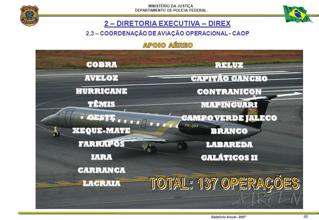 MINISTÉRIO DA JUSTIÇA DEPARTAMENTO DE POLÍCIA FEDERAL Relatório Anual - 2007 COBRAAVELOZHURRICANETÊMISOESTEXEQUE-MATEFARRAPOSIARACARRANCALACRAIA RELUZ