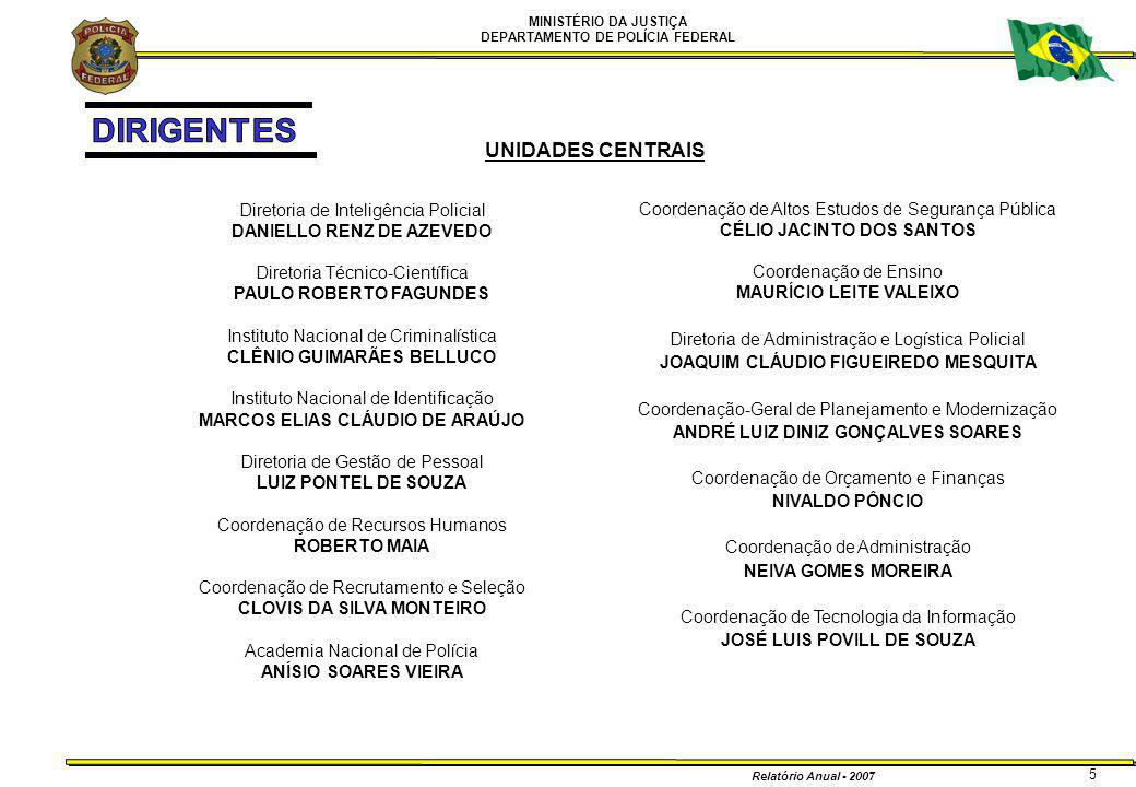 MINISTÉRIO DA JUSTIÇA DEPARTAMENTO DE POLÍCIA FEDERAL Relatório Anual - 2007 6 SUPERINTENDÊNCIAS REGIONAIS SR/Acre LUIZ CRAVO DÓREA SR/Alagoas JOSÉ PINTO DE LUNA SR/Amapá ANDERSON RUI FONTEL DE OLIVEIRA SR/Amazonas SÉRGIO LÚCIO MAR DOS SANTOS FONTES SR/Bahia ALESSANDRO CARVALHO LIBERATO DE MATTOS SR/Ceará ALDAIR DA ROCHA SR/Distrito Federal DISNEY ROSSETI SR/Espírito Santo JADER PINTO LUCAS GOMES SR/Goiás ROGÉRIO AUGUSTO VIANA GALLORO SR/Maranhão GUSTAVO FERRAZ GOMINHO SR/Mato Grosso MARCOS ANTÔNIO FARIAS SR/Mato Grosso do Sul LUIZA DALBERTO PHILIPPSEN SR/Minas Gerais MARCOS DAVID SALÉM SR/Pará GERALDO JOSÉ DE ARAÚJO