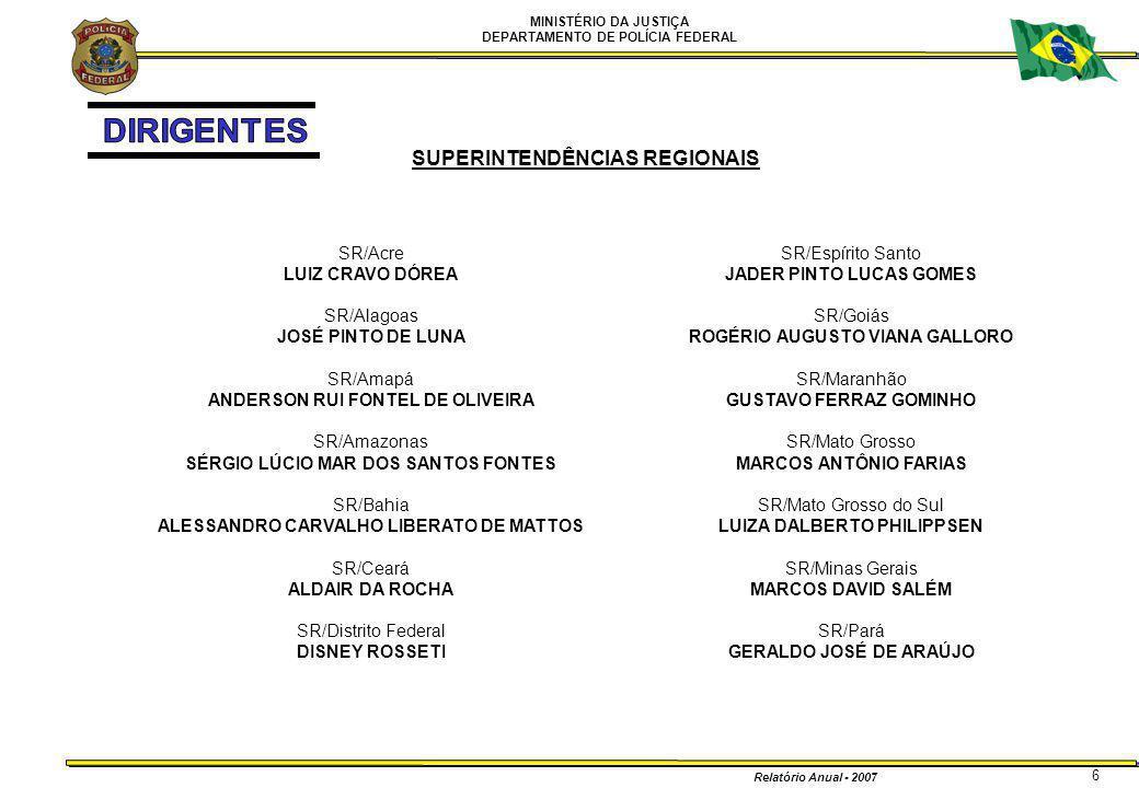 MINISTÉRIO DA JUSTIÇA DEPARTAMENTO DE POLÍCIA FEDERAL Relatório Anual - 2007 47 2 – DIRETORIA EXECUTIVA – DIREX 2.3 – COORDENAÇÃO DE AVIAÇÃO OPERACIONAL - CAOP OPERAÇÃOPERÍODORESUMO REUNIÃO DO MERCOSUL JANEIRO APOIO AÉREO NO TRANSPORTE DE POLICIAIS PARA O RIO DE JANEIRO/RJ VISITA DO PARA MAIO SEGURANÇA AÉREA PARA A VISITA DE SUA SANTIDADE O PAPA BENTO XVI EM SUA VISITA AO BRASIL ERRADICAÇÃO DE MACONHA NO NORDESTE JUNHO NOVEMBRO APOIO AÉREO COM AERONAVES ESQUILO DA CAOP NA ERRADICAÇÃO DE MACONHA NO NORDESTE BRASILEIRO POLÍCIA MILITAR/DF JUNHO OUTUBRO APOIO EM OPERAÇÕES DESENCADEADAS PELO BOPE/DF E EM INSTRUÇÃO DA ACADEMIA DE POLÍCIA MILITAR/DF JOGOS PANAMERICANOS JUNHO JULHO AGOSTO APOIO ATRAVÉS DE AVIÕES TRANSPORTANDO POLICIAIS E EQUIPAMENTOS E HELICÓPTEROS EFETUANDO SEGURANÇA AÉREA INCENDIOS NO PARQUE NACIONAL DE BRASÍLIA AGOSTO EMPREGO DE 3 AERONAVES ESQUILO DO DPF EM APOIO AS AÇÕES DE COMBATE A INCENDIOS NO PARQUE NACIONAL DE BRASÍLIA.