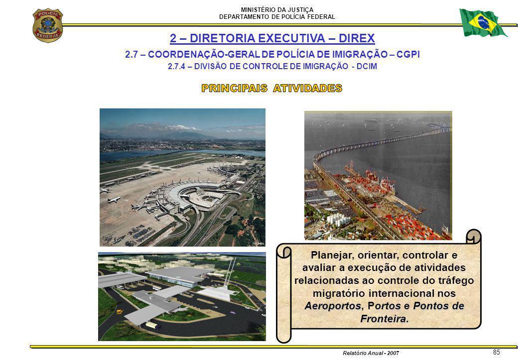 MINISTÉRIO DA JUSTIÇA DEPARTAMENTO DE POLÍCIA FEDERAL Relatório Anual - 2007 85 2 – DIRETORIA EXECUTIVA – DIREX 2.7 – COORDENAÇÃO-GERAL DE POLÍCIA DE