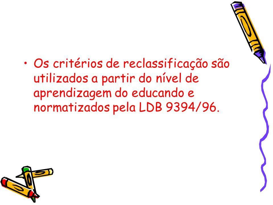 Os critérios de reclassificação são utilizados a partir do nível de aprendizagem do educando e normatizados pela LDB 9394/96.