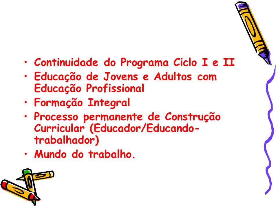 Continuidade do Programa Ciclo I e II Educação de Jovens e Adultos com Educação Profissional Formação Integral Processo permanente de Construção Curri