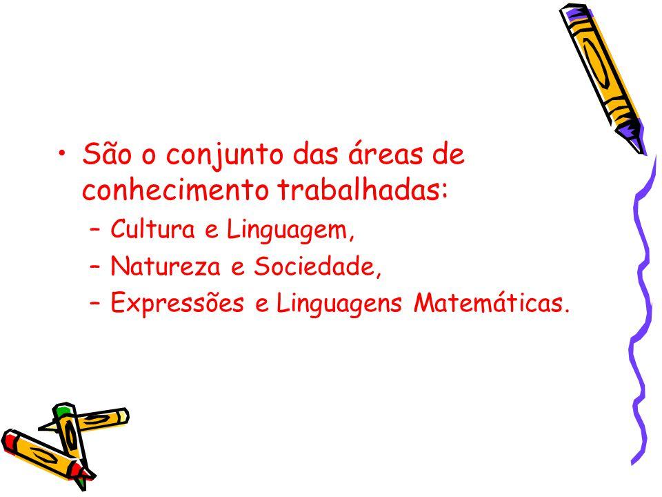 São o conjunto das áreas de conhecimento trabalhadas: –Cultura e Linguagem, –Natureza e Sociedade, –Expressões e Linguagens Matemáticas.