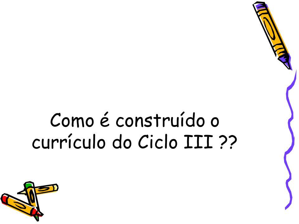 Como é construído o currículo do Ciclo III ??