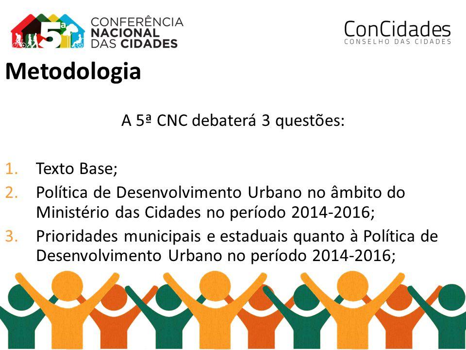 Metodologia A 5ª CNC debaterá 3 questões: 1.Texto Base; 2.Política de Desenvolvimento Urbano no âmbito do Ministério das Cidades no período 2014-2016;