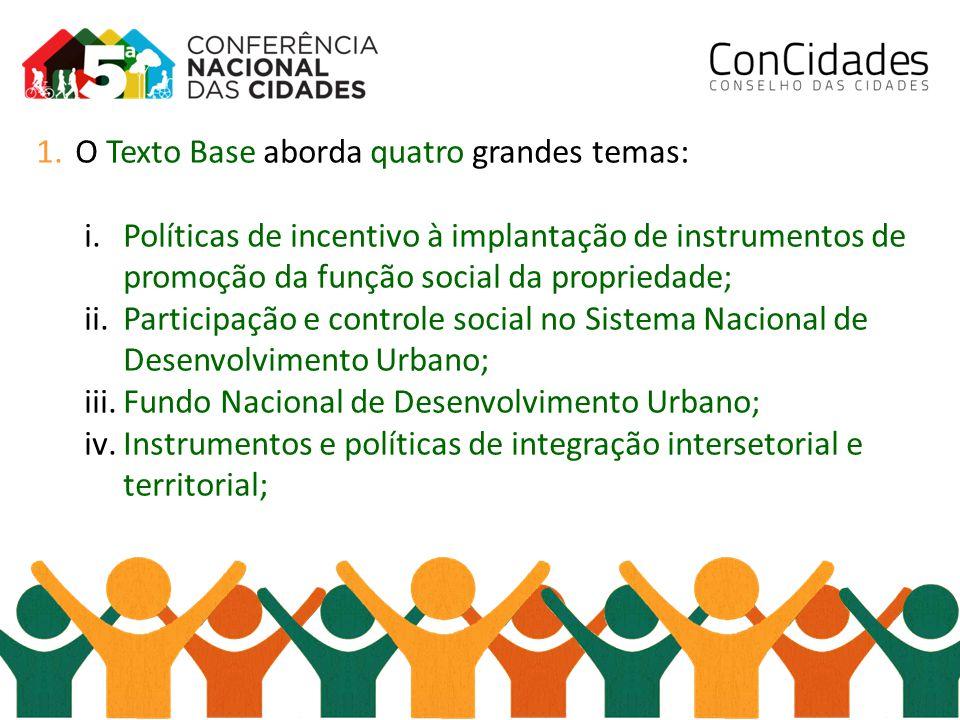 1.O Texto Base aborda quatro grandes temas: i.Políticas de incentivo à implantação de instrumentos de promoção da função social da propriedade; ii.Par