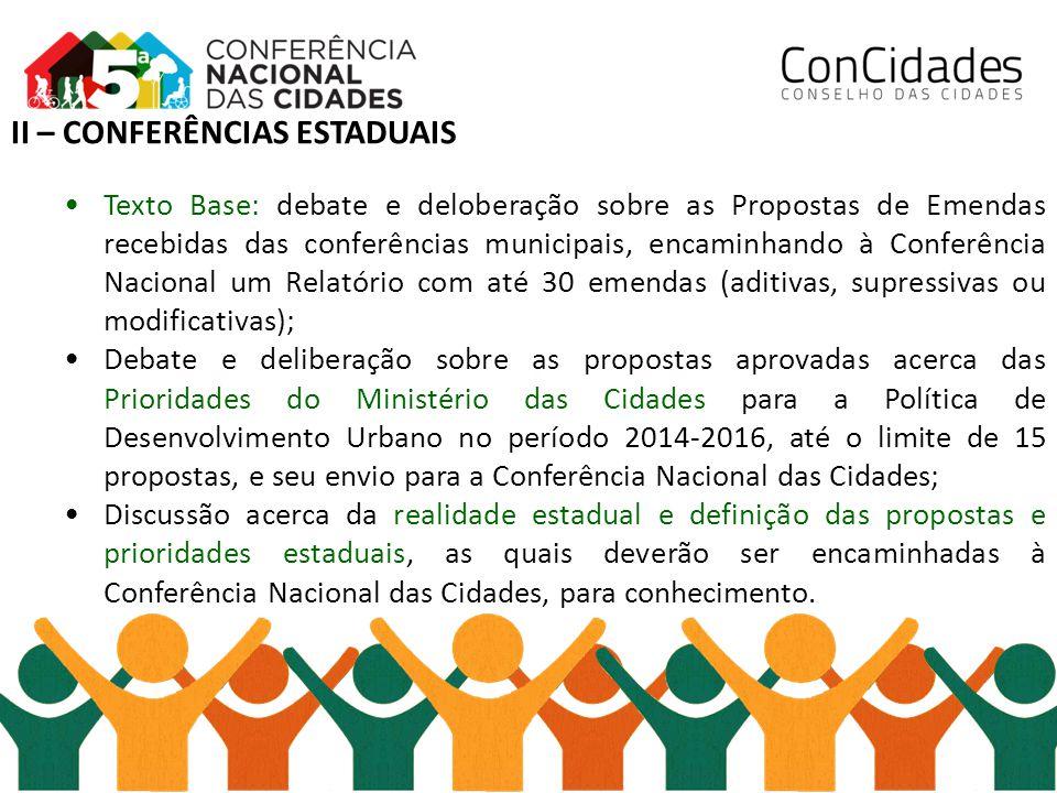 II – CONFERÊNCIAS ESTADUAIS Texto Base: debate e deloberação sobre as Propostas de Emendas recebidas das conferências municipais, encaminhando à Confe