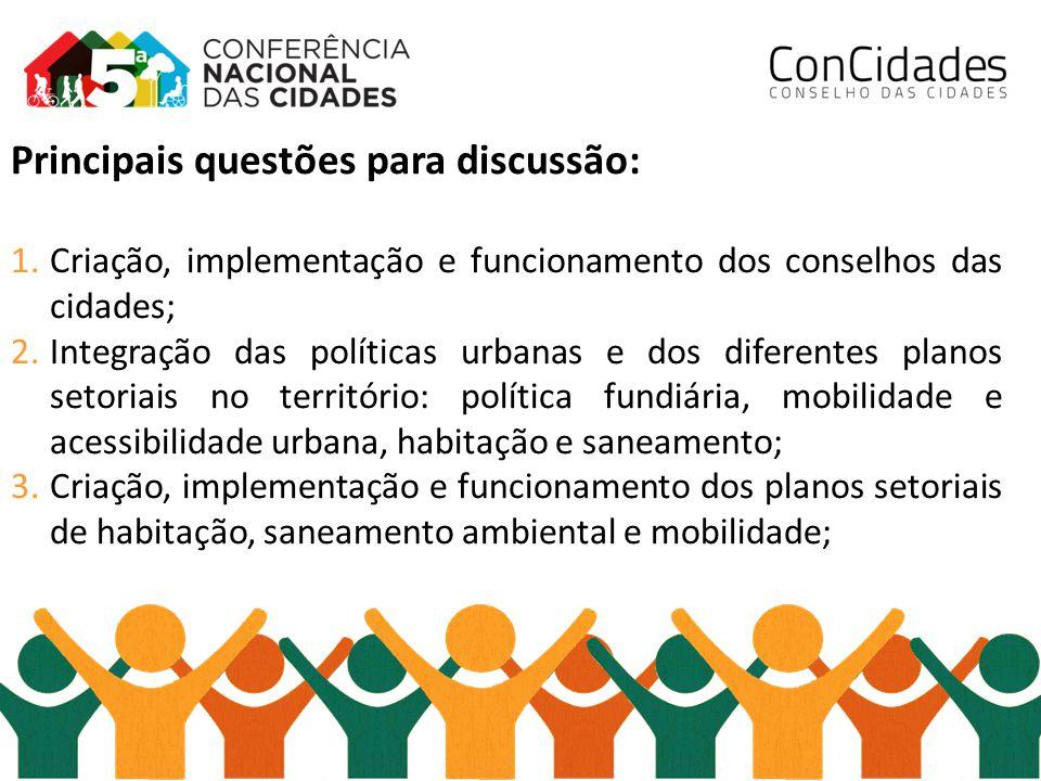 Principais questões para discussão: 1.Criação, implementação e funcionamento dos conselhos das cidades; 2.Integração das políticas urbanas e dos difer