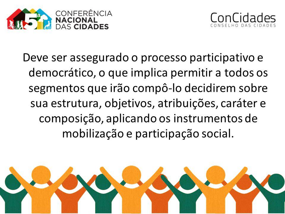 Deve ser assegurado o processo participativo e democrático, o que implica permitir a todos os segmentos que irão compô-lo decidirem sobre sua estrutur