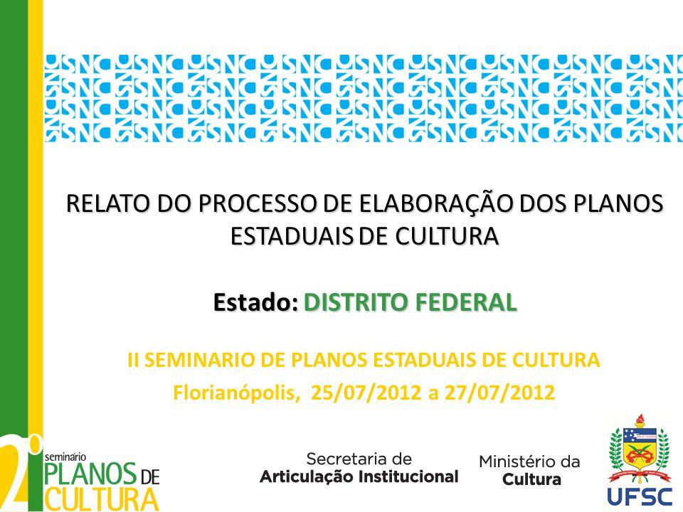 RELATO DO PROCESSO DE ELABORAÇÃO DOS PLANOS ESTADUAIS DE CULTURA Estado: DISTRITO FEDERAL RELATO DO PROCESSO DE ELABORAÇÃO DOS PLANOS ESTADUAIS DE CULTURA Estado: DISTRITO FEDERAL II SEMINARIO DE PLANOS ESTADUAIS DE CULTURA Florianópolis, 25/07/2012 a 27/07/2012