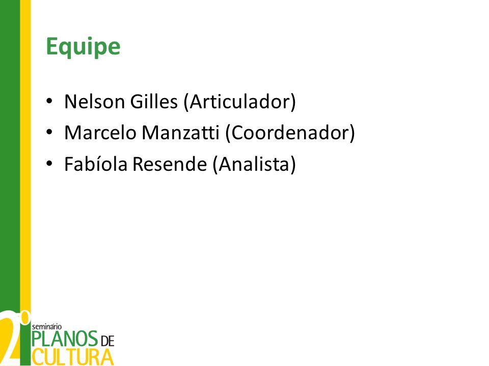 Equipe Nelson Gilles (Articulador) Marcelo Manzatti (Coordenador) Fabíola Resende (Analista)
