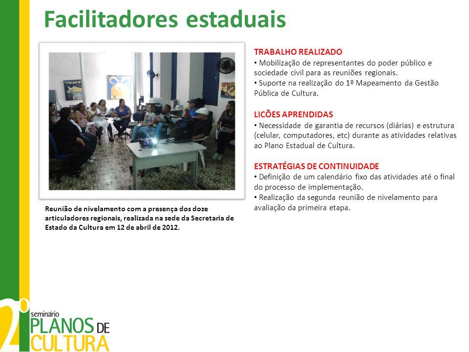 Facilitadores estaduais Reunião de nivelamento com a presença dos doze articuladores regionais, realizada na sede da Secretaria de Estado da Cultura em 12 de abril de 2012.