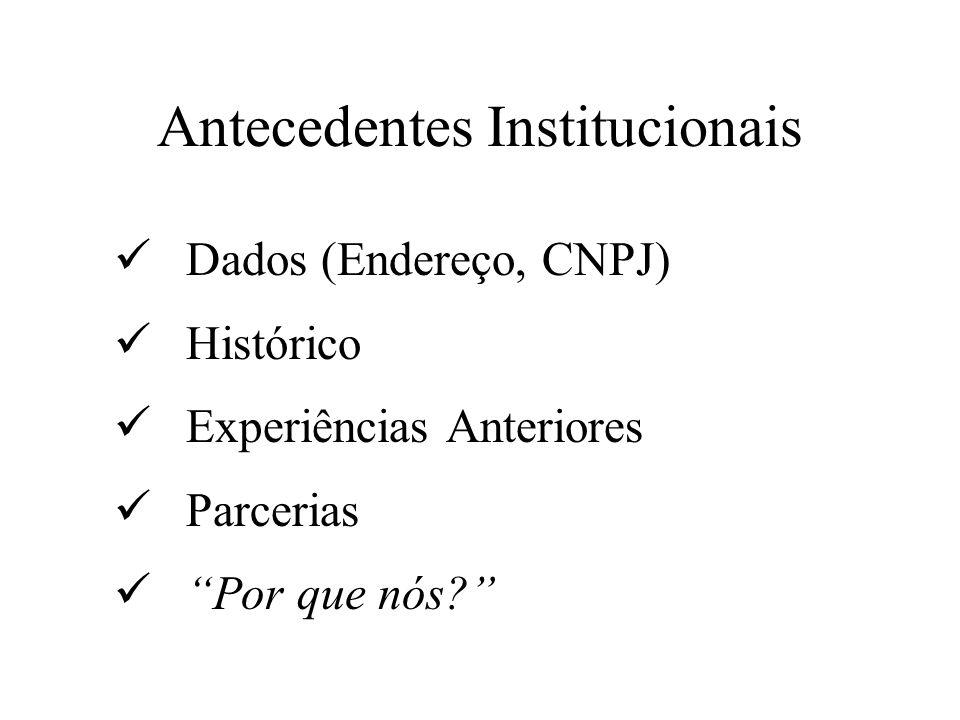 Antecedentes Institucionais Dados (Endereço, CNPJ) Histórico Experiências Anteriores Parcerias Por que nós?