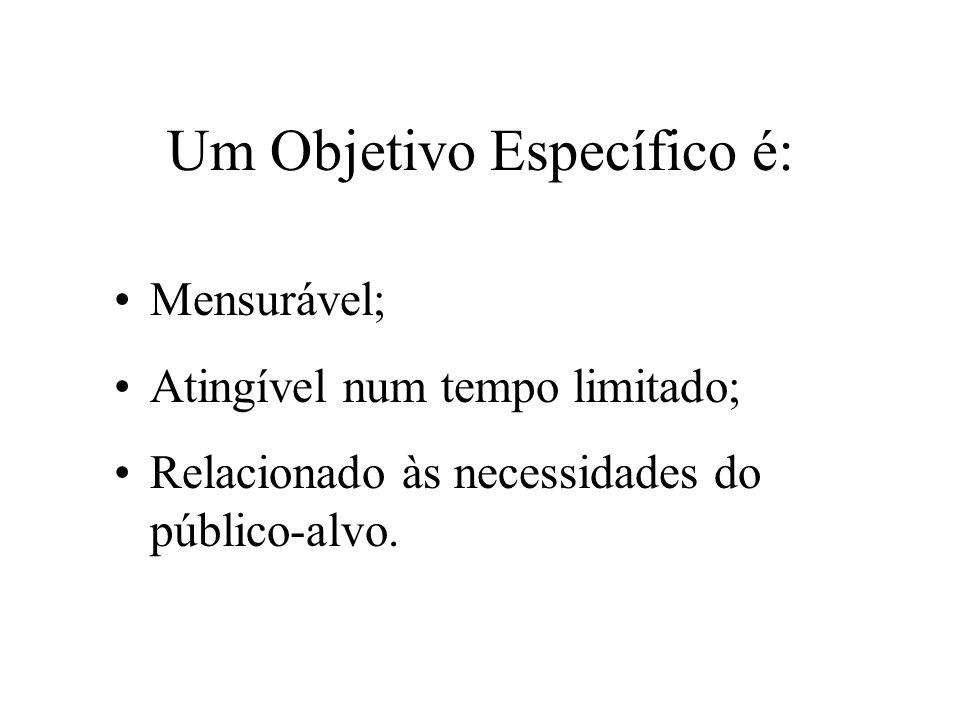 Um Objetivo Específico é: Mensurável; Atingível num tempo limitado; Relacionado às necessidades do público-alvo.