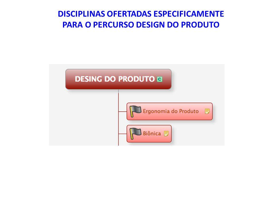 DISCIPLINAS OFERTADAS ESPECIFICAMENTE PARA O PERCURSO DESIGN DO PRODUTO