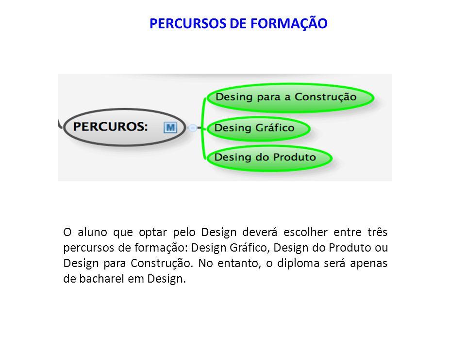 O aluno que optar pelo Design deverá escolher entre três percursos de formação: Design Gráfico, Design do Produto ou Design para Construção. No entant