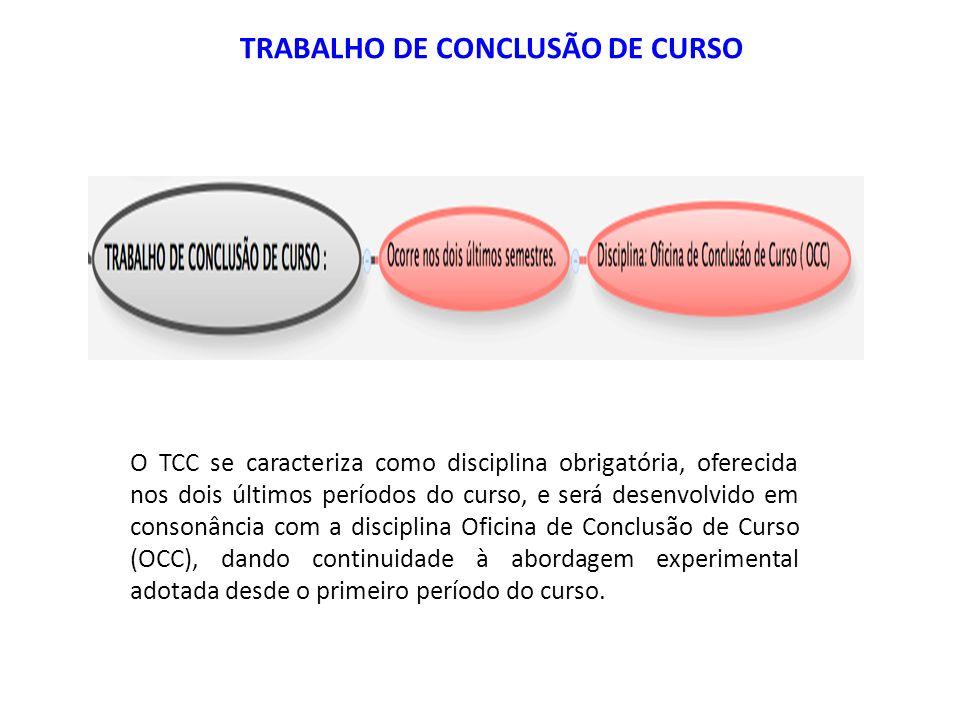 O TCC se caracteriza como disciplina obrigatória, oferecida nos dois últimos períodos do curso, e será desenvolvido em consonância com a disciplina Of