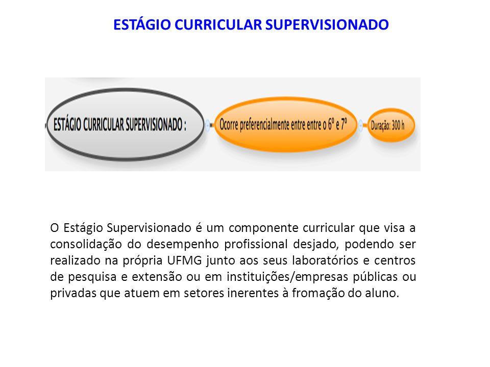 O Estágio Supervisionado é um componente curricular que visa a consolidação do desempenho profissional desjado, podendo ser realizado na própria UFMG