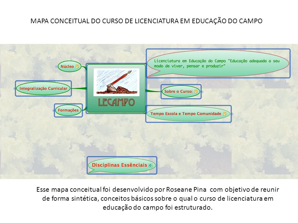 MAPA CONCEITUAL DO CURSO DE LICENCIATURA EM EDUCAÇÃO DO CAMPO Esse mapa conceitual foi desenvolvido por Roseane Pina com objetivo de reunir de forma s